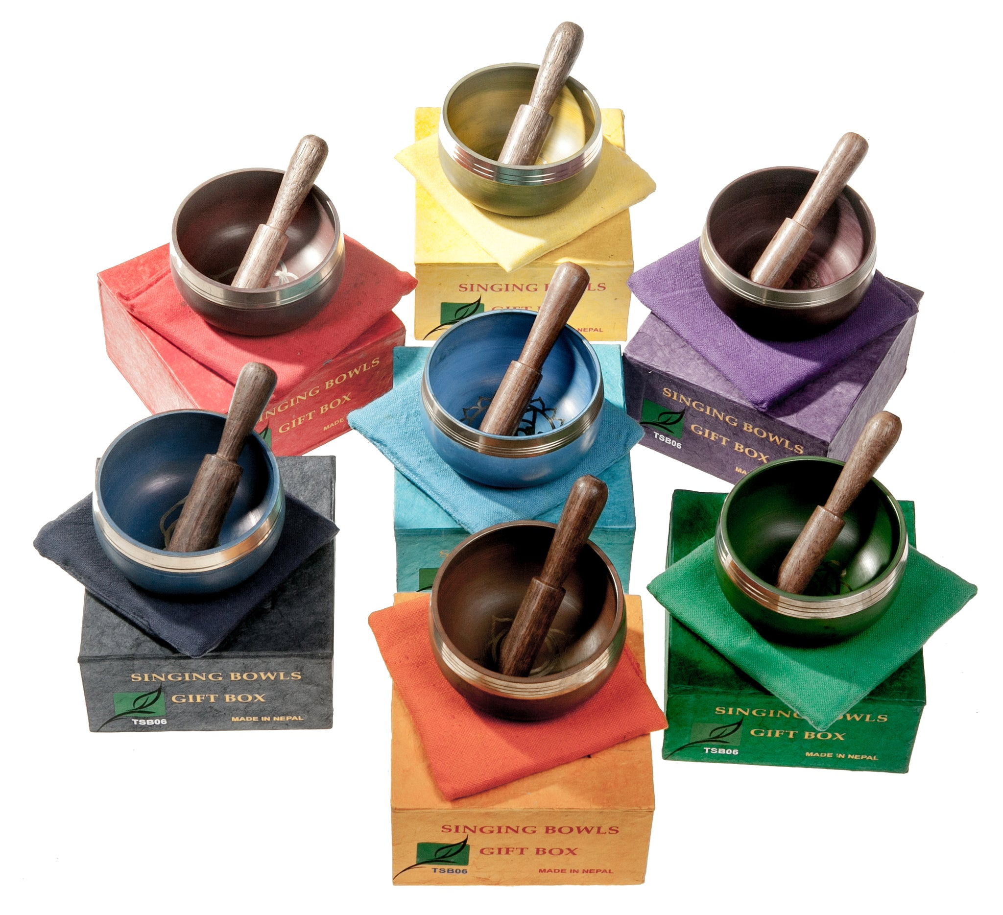 Set of 7 Chakra Hand Hammered Tibetan Singing Bowls