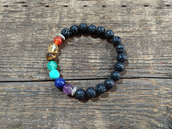 7 Chakra & Lava Rock Bracelet - 8mm - 5ml Essential oil