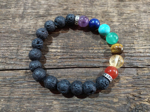 7 Chakra & Lava Rock Bracelet - 10mm with 5Ml Essential Oil