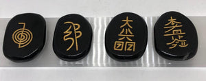Reiki Symbol Set in Black Agate
