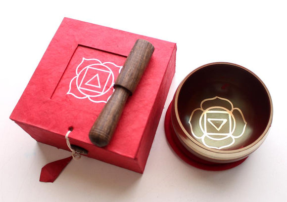 Root Chakra Tibetan Singing Bowl with Cushion, Stupa Stick and Gift Box