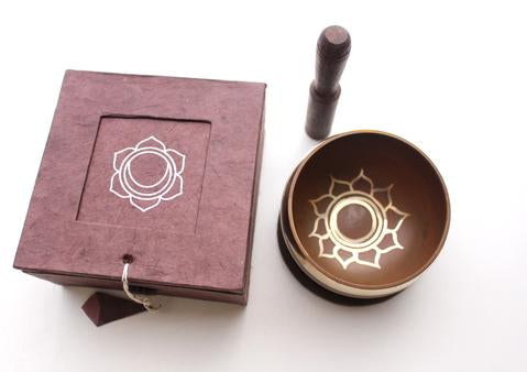 Sacral Chakra Tibetan Singing Bowl with Cushion, Stupa Stick and Gift Box