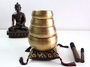 Set of 4 Hand Hammered Tibetan Singing Bowls