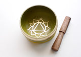 Solar Plexus Chakra Tibetan Singing Bowl with Cushion, Stupa Stick and Gift Box