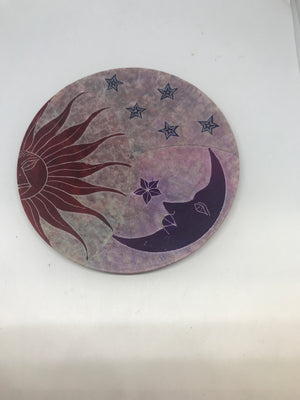 Soapstone Sun,Moon and Stars Incense burner