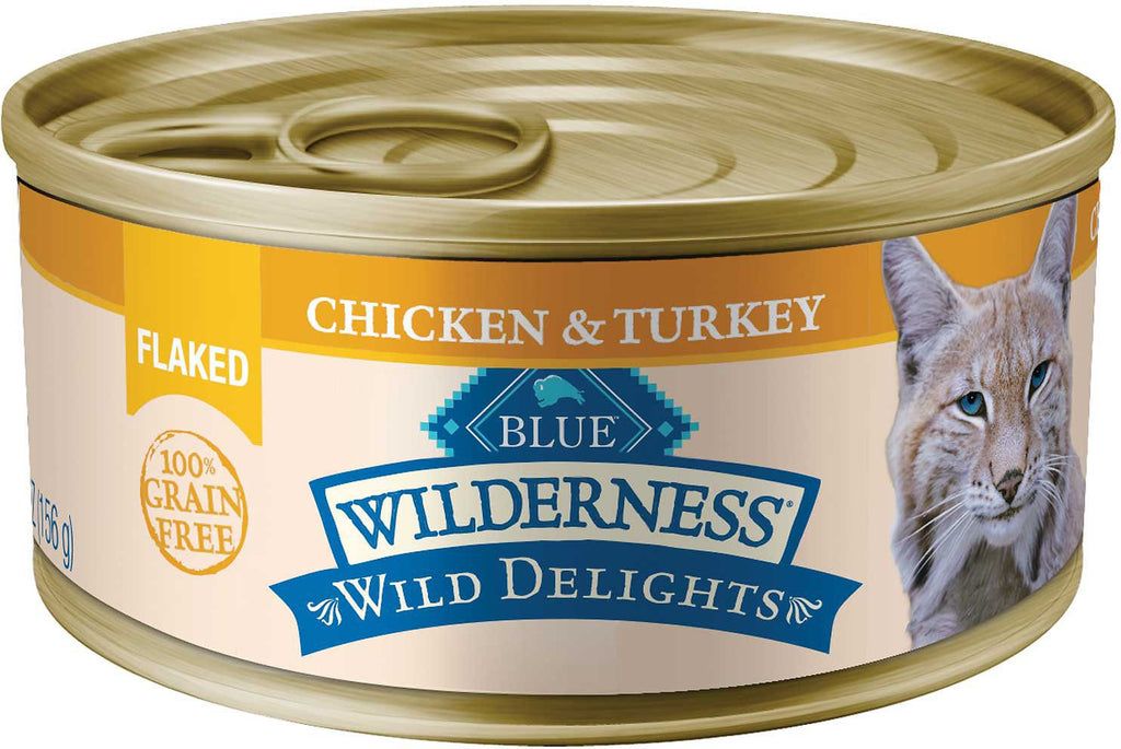 Blue Buffalo Wilderness Wild Delights Flaked Chicken & Turkey Grain-Free Canned Cat Food