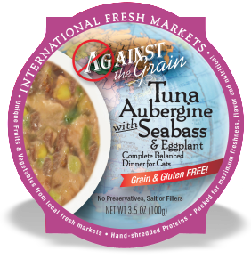 AGAINST THE GRAIN™ Tuna Aubergine with Seabass and Eggplant Dinner for Cats