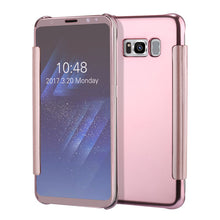 Luxury Flip For Samsung, Cover Fashion Plating Mirror Case Fundas Clear Screen View Full Body Phone Cases Shell