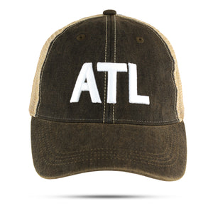 ATL in white 3D embroidered on black hat - NEW