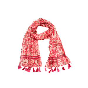 Antique flowers pink scarf