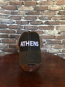 ATHENS trucker cap white lettering on black cap - NEW