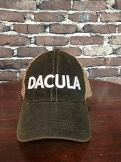 DACULA 3D white embroidered on washed black trucker hat - NEW