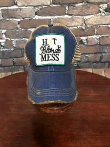 Hot Blonde Mess daisy patch on trucker caps - NEW!