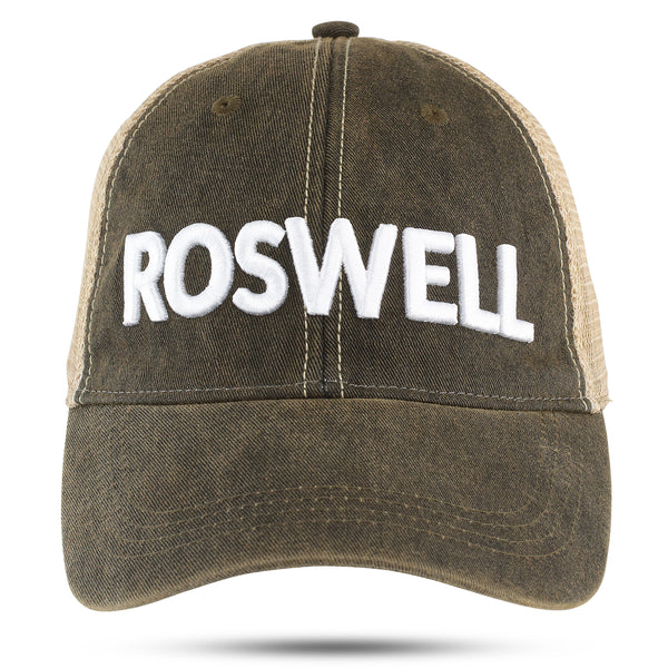 ROSWELL 3D white embroidered on black hat - NEW