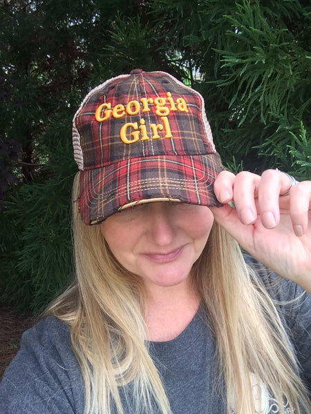 Vintage Shabby Chic Georgia Girl Distressed Trucker's Cap in Plaid.Free Shipping!Tailgating!