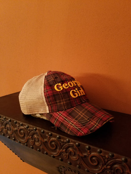Vintage Shabby Chic Georgia Girl Distressed Trucker's Cap in Plaid.Free Shipping!Side view of Cap