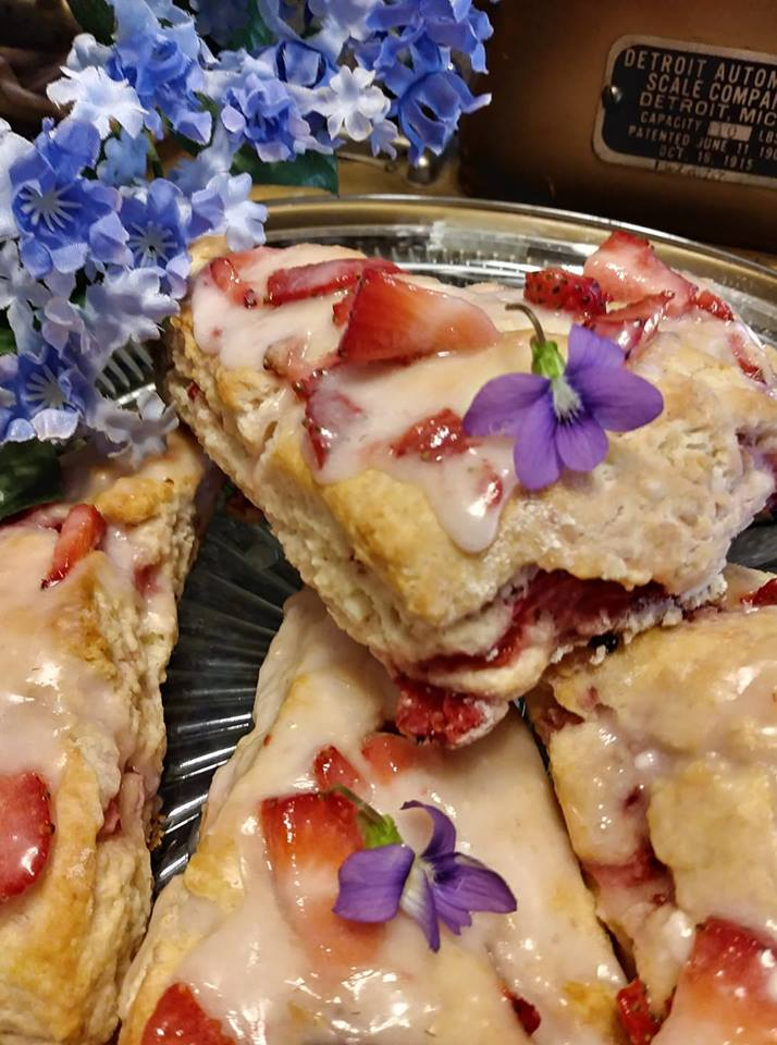 Violets and Strawberry Scones