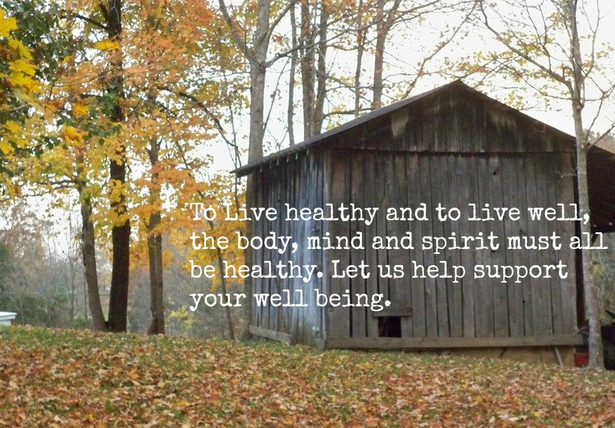 picture of country side with a shed, to live healthy and to live well,the body, the mind and spirit need to be healthy. let us help support your well being.