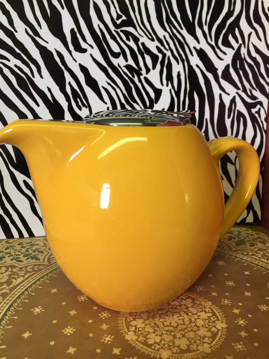 mustard yellow 4 cup clipper tea pot
