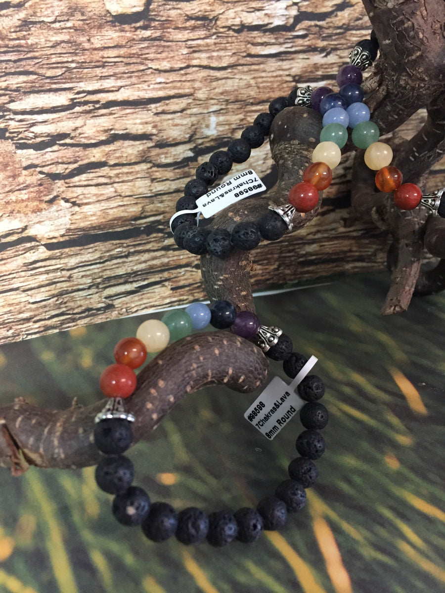 7 charka bracelet with lava beads