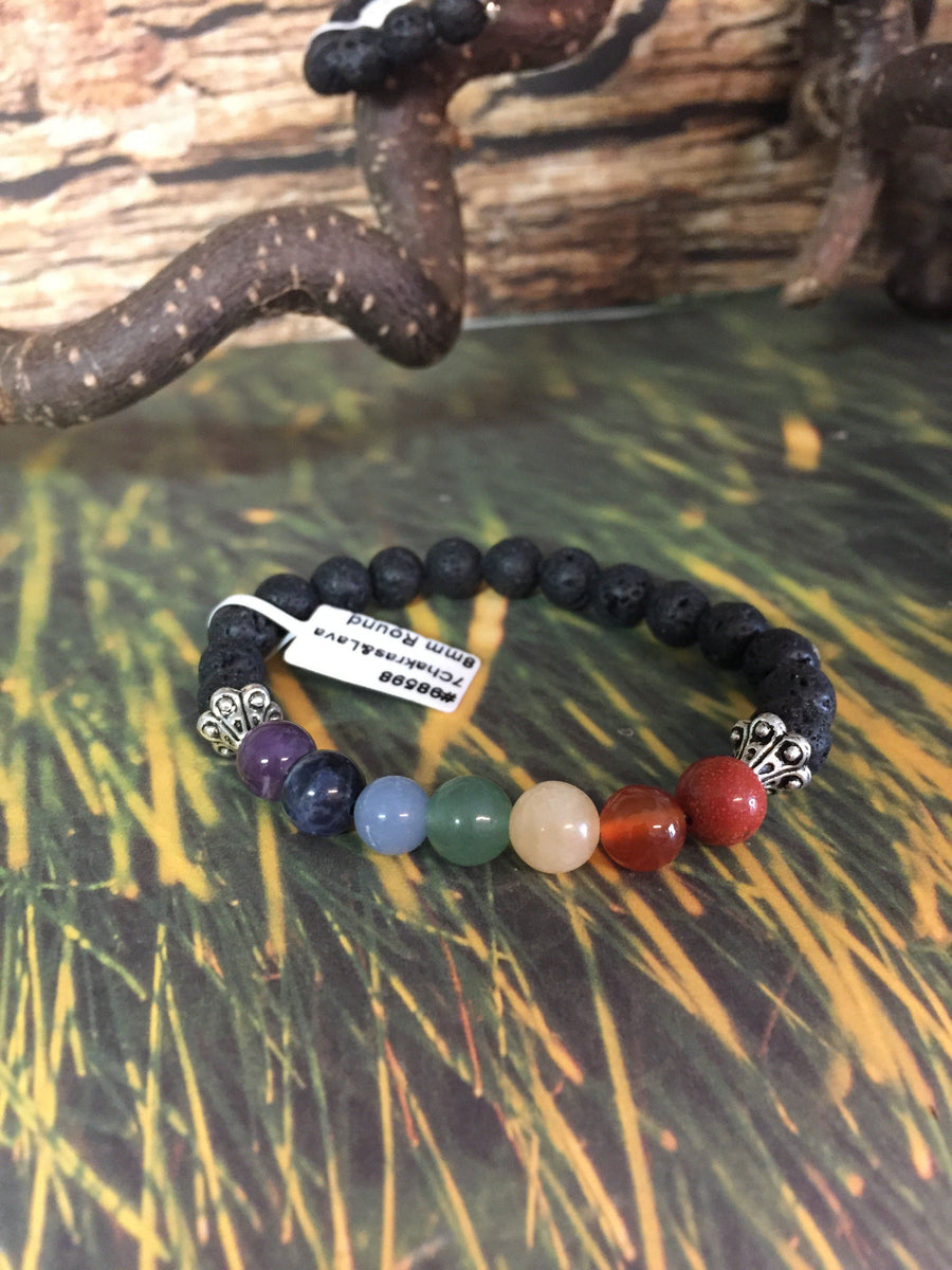 7 Charka Bracelet with Lava Bead