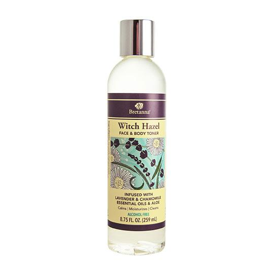 bottle of Witch hazel by Bretanna made with aloe vera, witch hazel, lavender and chamomile essential oils