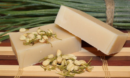 Fine Jasmine Soap made with real Jasmine from Glenbrook Farms Herbs
