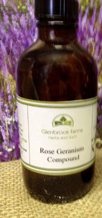 bottle of rose geranium compound