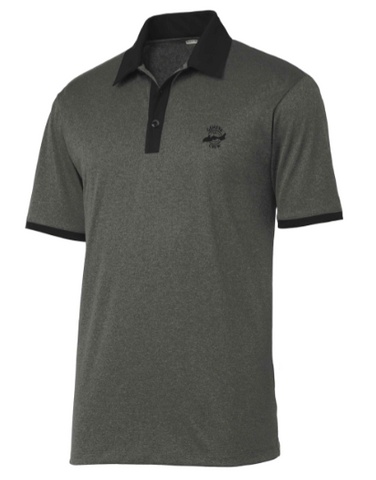 Men's Golf Polo in Graphite Heather with Black Collar