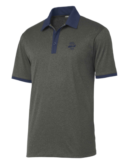 Men's Golf Polo in Graphite Heather with Navy Collar