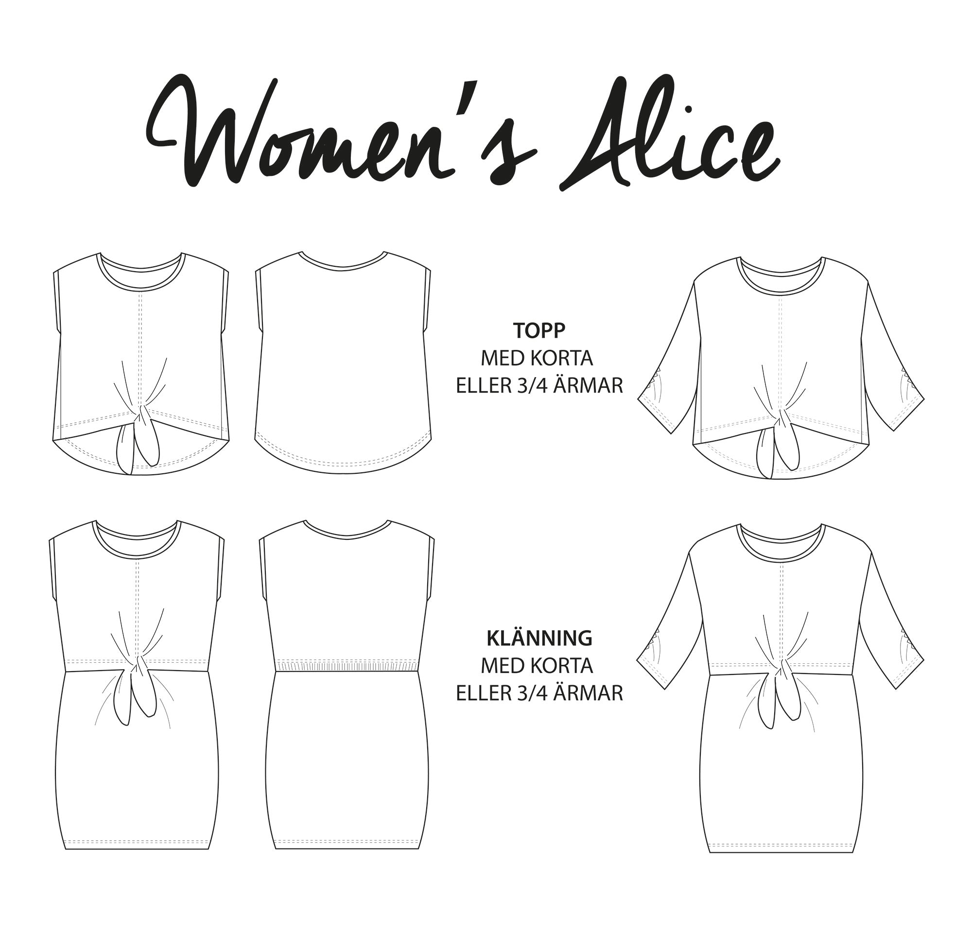 Women's Alice top & dress - printed (English)