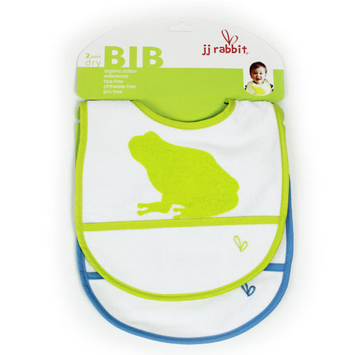 JJ Rabbit® dryBIB™ organic cotton bib 2-Pack (Lime Pop green and Sea Life blue)