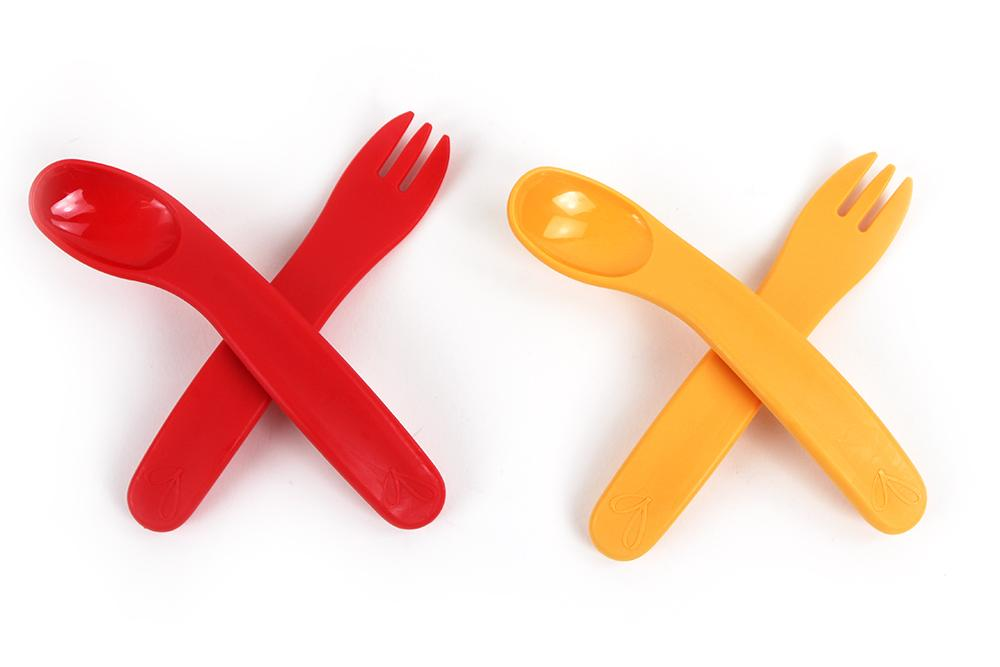 ergoFORK+SPOON™ (2 sets - Orange and Red)