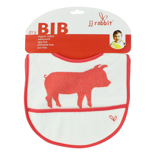 JJ Rabbit® dryBIB™ organic cotton bib in Wet Coral red color