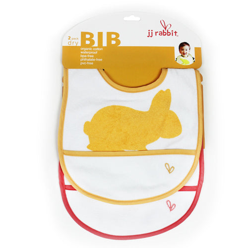 JJ Rabbit® dryBIB™ organic cotton bib 2-Pack (Orange Peel and Wet Coral red)