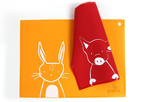 siliMAT™ - Orange Peel Rabbit + Wet Coral Piglet (2-pc Set)