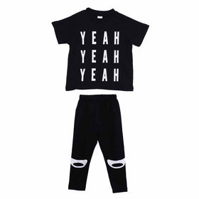 YEAH Printed Boys T-Shirts+Pants Short Sleeve Outfit