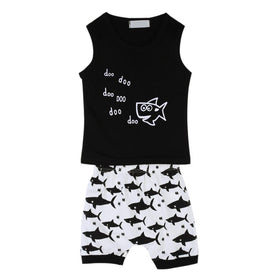 3-18M Baby Boys Summer Sleeveless Set Tops+Pants with Printed Sharks