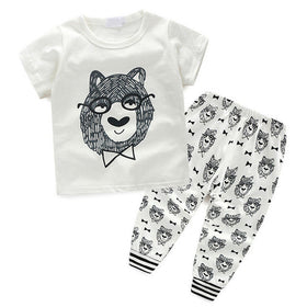 0-36M Baby Girl Super Cute White and Grey Clothes Set