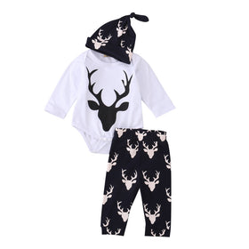 Newborn Deer Long Sleeve T-shirt+Pants Leggings & Hat