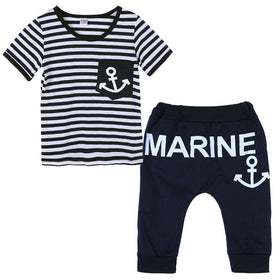 Boys Clothing Pants+Top Navy Stripe Boat Anchor Pattern