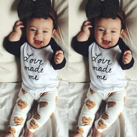 Baby Cool Letters Print Long Sleeve O-Neck T-shirt + Love Holes Pants