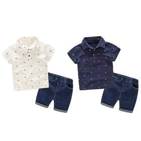 Baby Boys Fashion Short Sleeve Polo Shirt with Pants