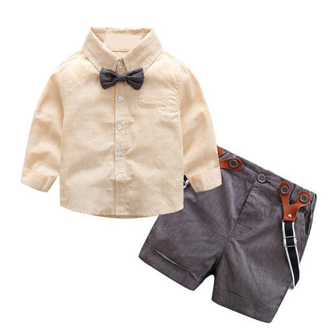 2pcs Baby Boys Gentlemen Bowknot Shirt Suspender Pants Outfit