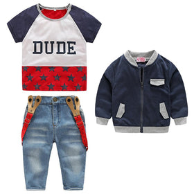 3pcs Baby Clothes Set  Short Sleeve T-shirt Long Sleeve Zipper Coat Denim Suspender Pants