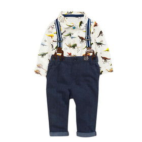 Boys Long Sleeve Shirt Tops+Braces+Pants Outfit Dinosaur Floral printing