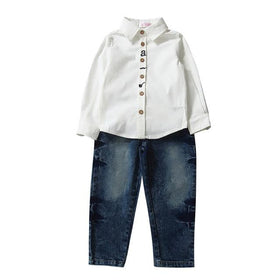 2 Pcs Kids Boys Long Sleeve Cotton Shirt Tops Jeans Pants