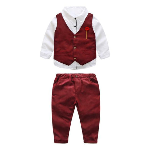 3pcs Gentlemen Outfit Long Sleeve Shirt Vest Pant Set