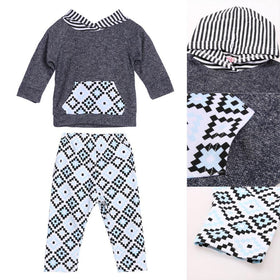 2 Pcs Baby's Sets Toddler Cotton Rhombus Printed Hoodie & Long Sleeve Top