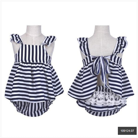 2pcs Baby Girl Summer White and Strip +Pants